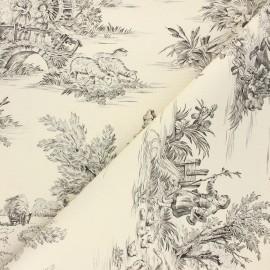 Tissu toile de Jouy Pastorale - écru/noir x 48cm
