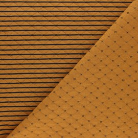 Reversible quilted jersey fabric- mustard yellow/ night blue Solly  x 10cm
