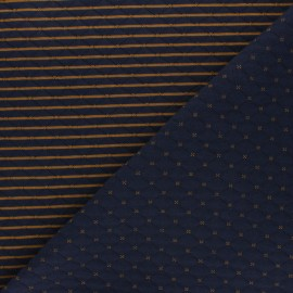 Reversible quilted jersey fabric- navy blue/ochre Solly  x 10cm