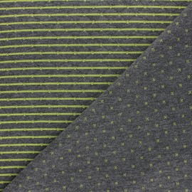 Reversible quilted jersey fabric- grey/ green Solly  x 10cm
