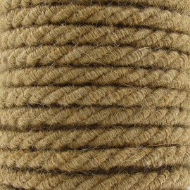 Jute braided cotton cord belt - brown