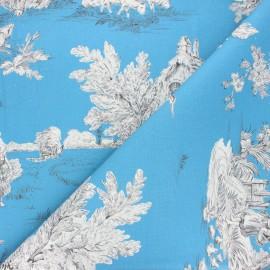 Tissu toile de Jouy Pastorale - bleu x 48cm