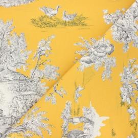 Tissu toile de Jouy Pastorale - jaune x 48cm