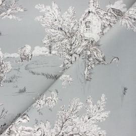 Tissu toile de Jouy Pastorale - gris x 48cm