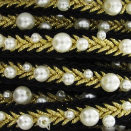 Beads braid trimming - black/golden