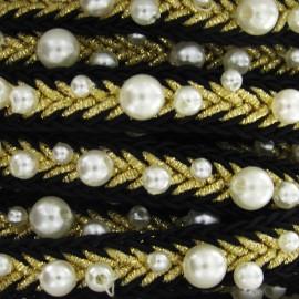 Galon perles noir/doré