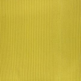Knitted Jersey 3/3 tubular edging fabric - lemon green x 10 cm