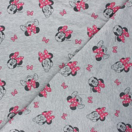 French terry fabric - mottled grey Minnie Mouse x 10cm