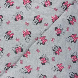 Tissu sweat léger Minnie Mouse - gris chiné x 10cm