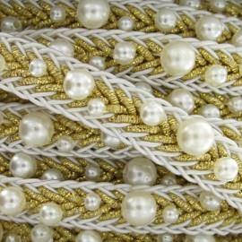 Galon perles blanc/doré