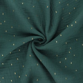 Double gauze fabric - dark green Pluie dorée x 10cm