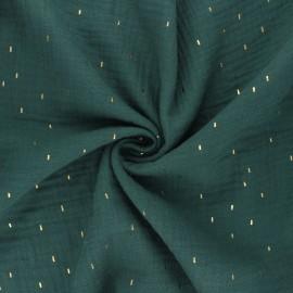 Tissu double gaze de coton Pluie dorée - vert foncé x 10cm