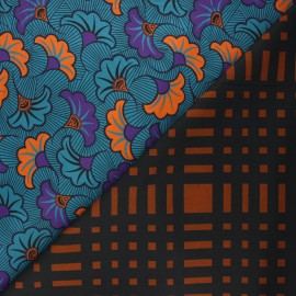 Reversible elastane gabardine fabric - blue Tahina x 10cm