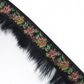 Galon à fleurs fourrure noir x 50 cm