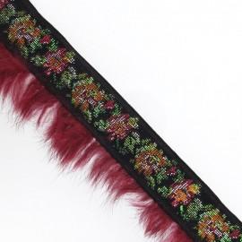 Galon à fleurs fourrure bordeaux x 50 cm