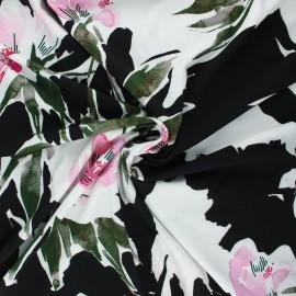 Viscose jersey fabric - black Lotus flowers x 10 cm