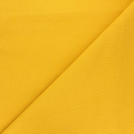 Tissu jersey maille marcel uni - jaune moutarde x 10cm
