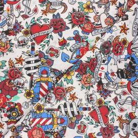 Tissu coton cretonne Old school vibes - écru x 10cm