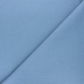 Tissu jersey maille marcel uni - bleu houle x 10cm