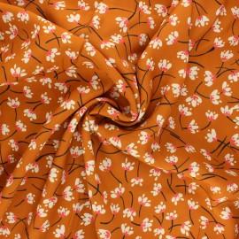 Viscose fabric - ginger Cute flowers x 10 cm