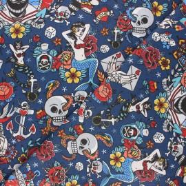Tissu coton cretonne Old school vibes - bleu marine x 10cm