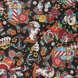 Cretonne cotton fabric - black Old school vibes x 10cm