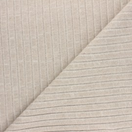 Ribbed knit jersey fabric - taupe Cocoon x 10cm