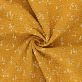 Tissu double gaze de coton Poppy Forest animals - jaune moutarde x 10cm