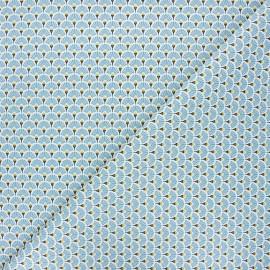 Cretonne cotton fabric - steel blue Eventails dorés x 10cm