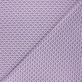 Cretonne cotton fabric - purple Eventails dorés x 10cm