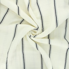 Tissu double gaze de coton Cory - noir x 10cm