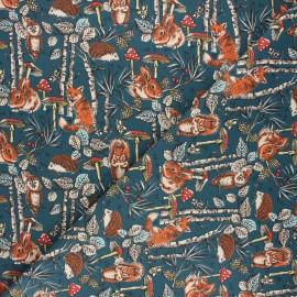 Cretonne cotton fabric - peacock blue Dans les bois x 10cm