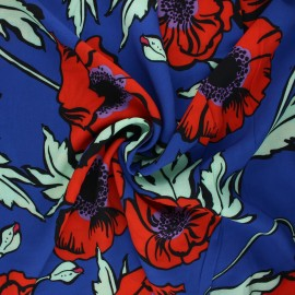 Viscose fabric - blue Coquelicot géant x 10 cm