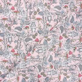 Cretonne cotton fabric - light pink Dans les bois x 10cm
