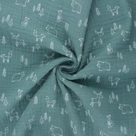 Poppy double gauze fabric - eucalyptus Forest animals x 10cm