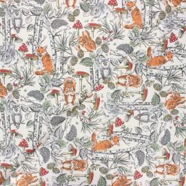 Tissu coton cretonne Dans les bois - écru x 10cm