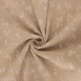 Poppy double gauze fabric - sand Forest animals x 10cm