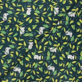 Cretonne cotton fabric - dark green Koa'life x 10cm