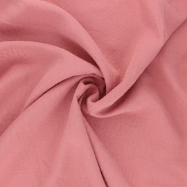 Viscose fabric with embroidered plumetis - pink x 10cm