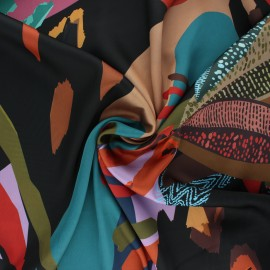 Polyester satin fabric - black Psychedelic leaves x 10cm