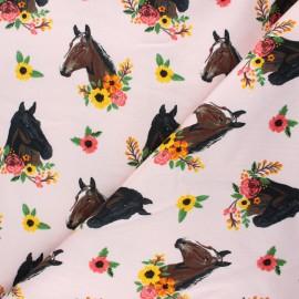 Printed sweatshirt fabric - light pink Flowery horse x 10cm