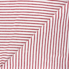 Terry-cloth jersey fabric - red Morlaix x 10cm
