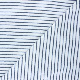 Terry-cloth jersey fabric - navy blue Morlaix x 10cm