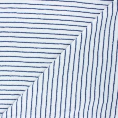 Tissu jersey velours éponge Morlaix - bleu marine x 10cm