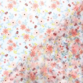 Tissu spécial ciré transparent réversible Poppy Flowers - orange x 10cm