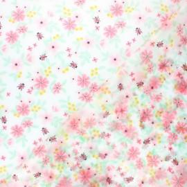 Poppy Special rain transparent waterproof fabric - pink Flowers x 10cm
