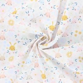 Tissu popeline de coton Poppy Sweet bunny - blanc x 10cm