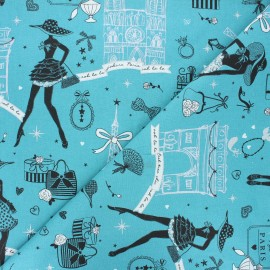 Tissu coton cretonne Moi Paris - bleu canard x 10cm