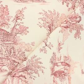 Tissu toile de Jouy Pastorale - écru/rouge x 48cm