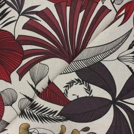 Linen aspect polycotton fabric - red Jakarta x 10cm